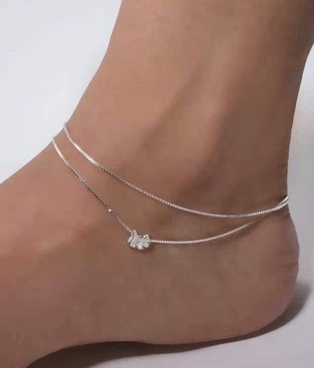 17-Random-shaped-Silvery-Glow Cute Ankle Bracelets-19 Ideas how to Wear Ankle Bracelets