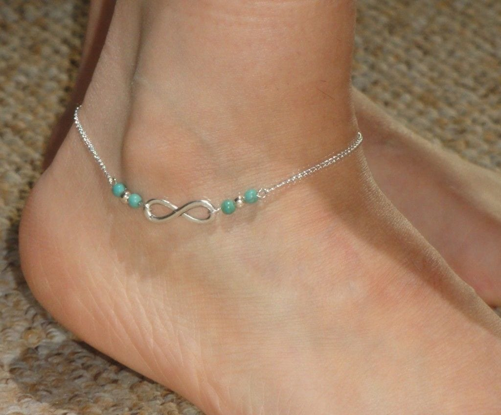 18-Infinity-Symbol-with-Turquoise-Tinge-1024x848 Cute Ankle Bracelets-19 Ideas how to Wear Ankle Bracelets