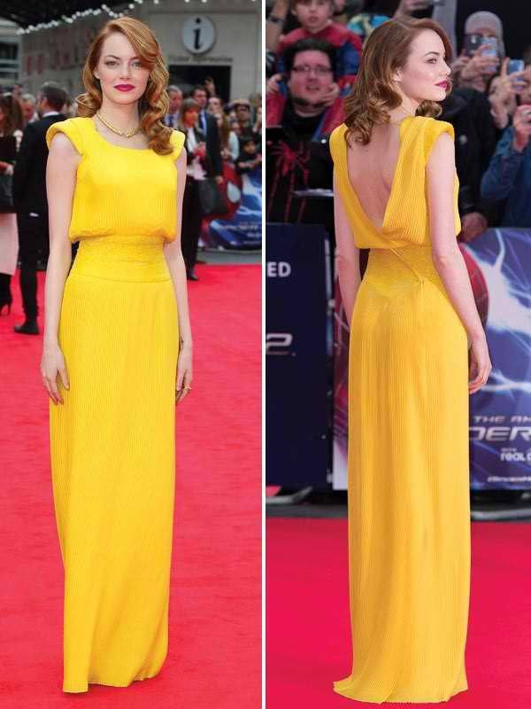 20-A-Happy-Yellow-Gown Emma Stone Outfits-25 Best Dressing Styles of Emma Stone to Copy