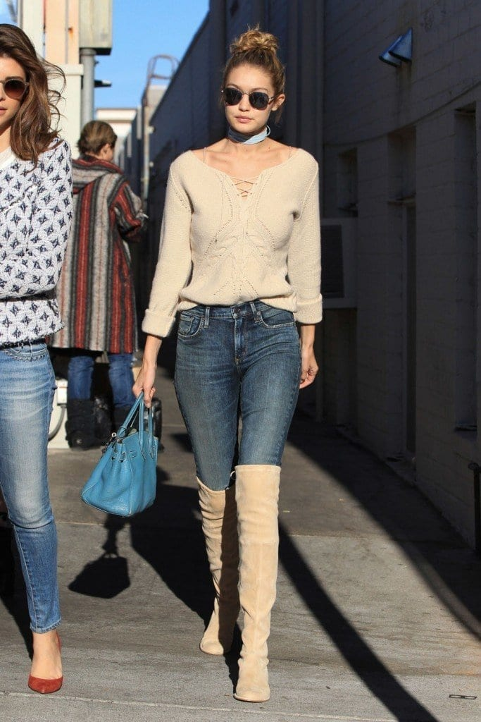 22-A-Sexy-Jeans-Outfit-with-Knee-Boots-683x1024 Gigi Hadid Outfits-28 Best Looks of Gigi Hadid This Year
