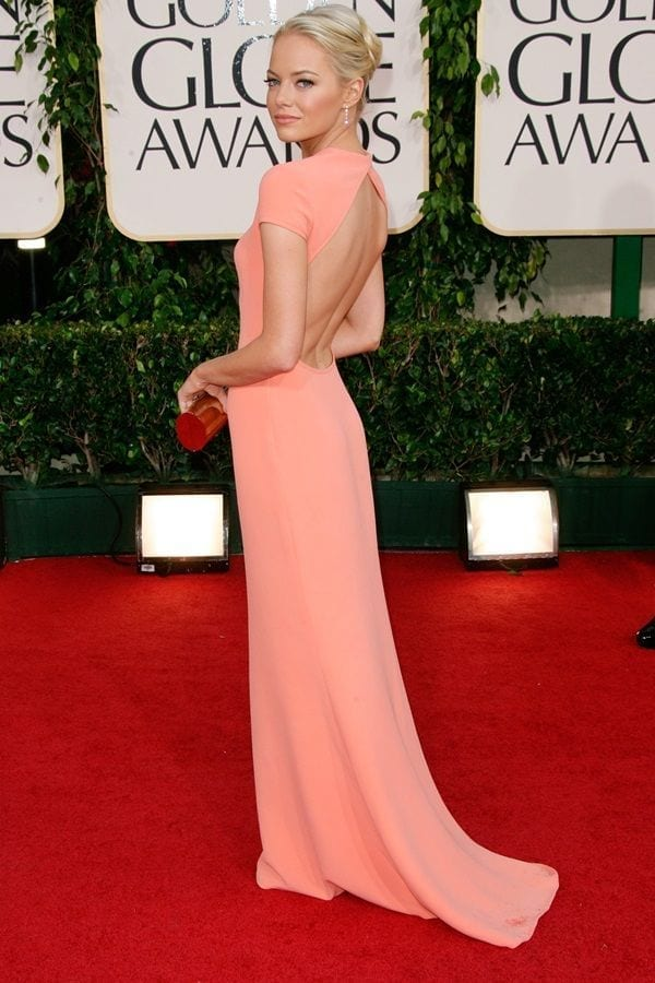 23-A-Classic-Pale-Pink-Gown Emma Stone Outfits-25 Best Dressing Styles of Emma Stone to Copy