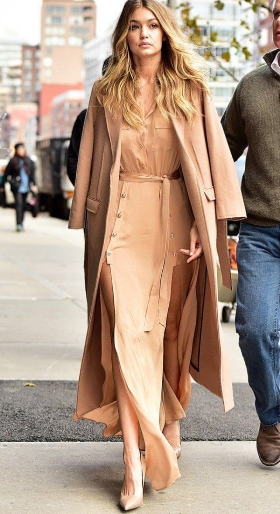 23-A-Side-cut-Gown-with-Coat-Fashion-559x1024 Gigi Hadid Outfits-28 Best Looks of Gigi Hadid This Year