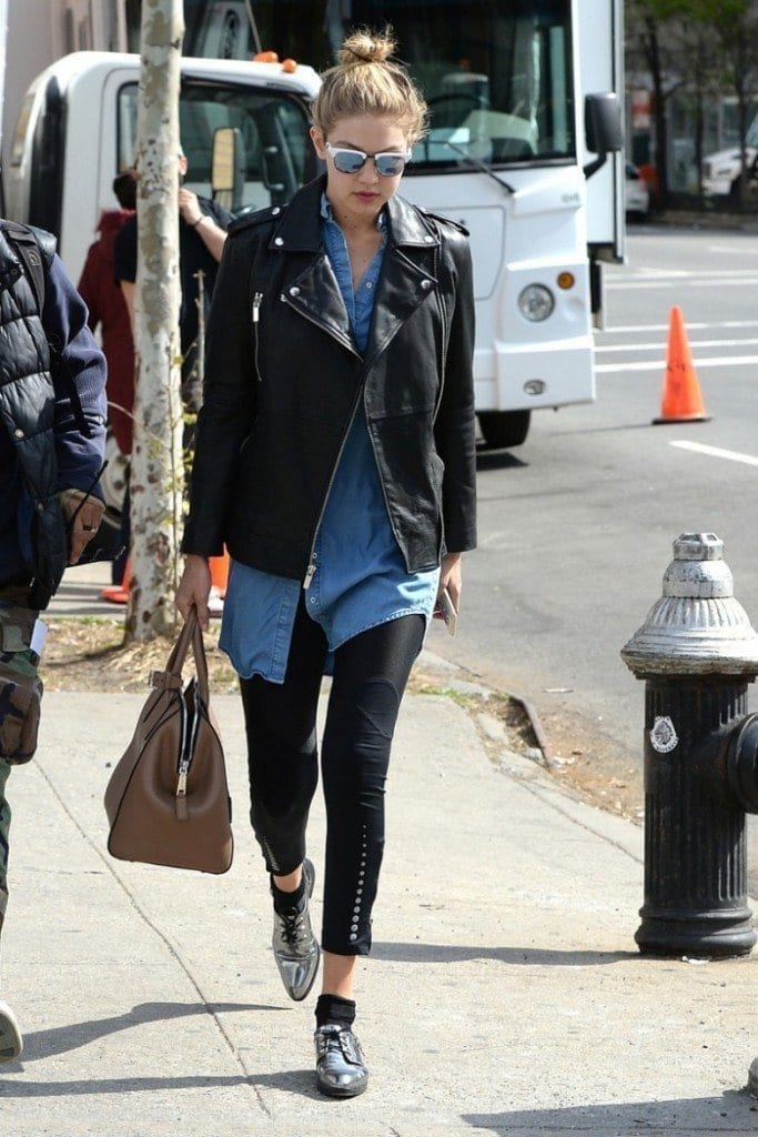 7-Her-Leather-Jacket-Street-Style-683x1024 Gigi Hadid Outfits-28 Best Looks of Gigi Hadid This Year