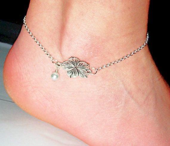 9-Magic-of-Sterling-Silver-Flower-Glass Cute Ankle Bracelets-19 Ideas how to Wear Ankle Bracelets