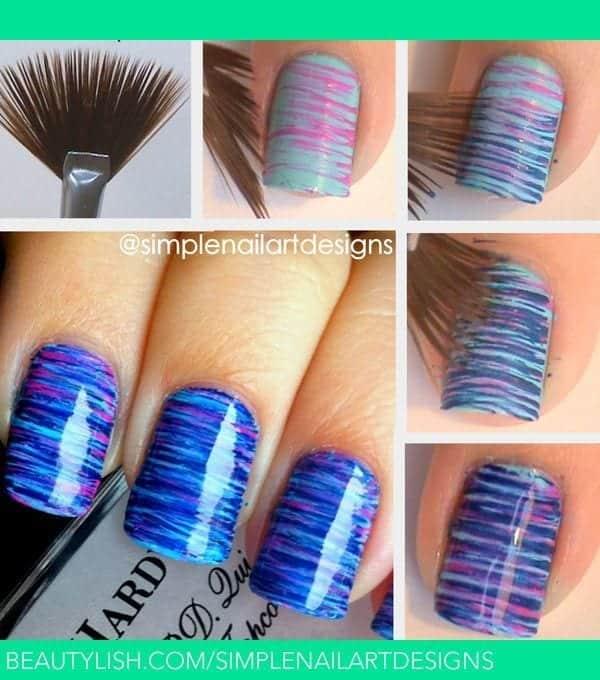 Brush-Nail-Art-Design Short Nail Designs - 25 Cute Nail Art Ideas for Short Nails