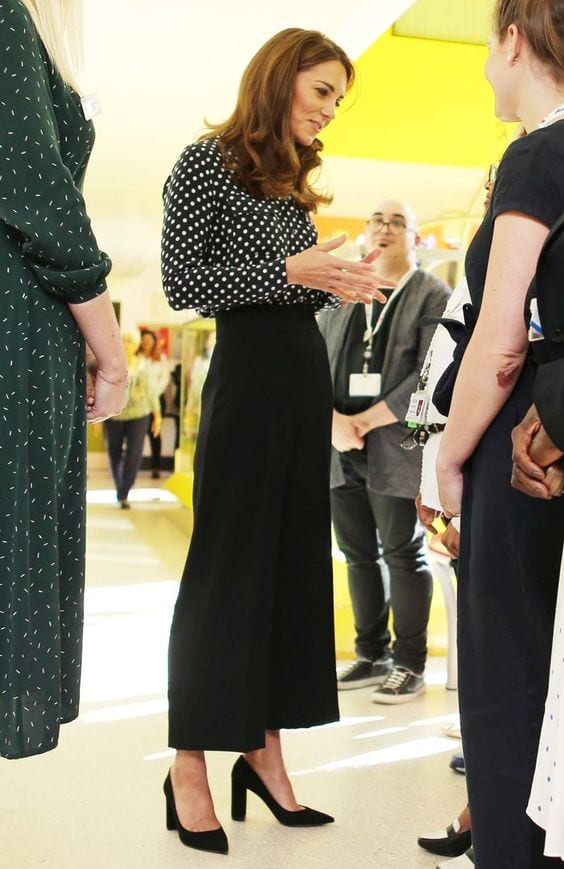 Duchess-in-navy-polka-dot-blouse-and-culottes Kate Middleton's Outfits-25 Best Dressing Styles Of Kate To Copy