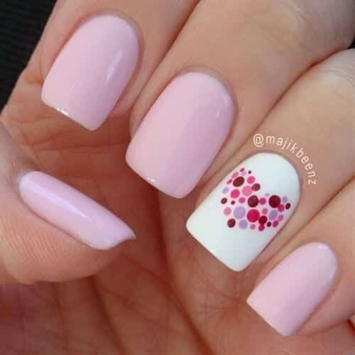 Mini-Heart-Nail-Art-Design Short Nail Designs - 25 Cute Nail Art Ideas for Short Nails
