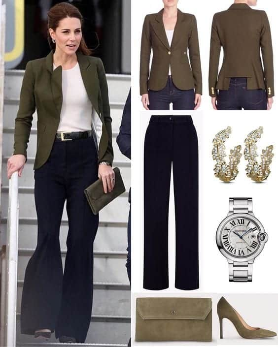 kate-middleton-greez-blazer-and-navy-trousers- Kate Middleton's Outfits-25 Best Dressing Styles Of Kate To Copy