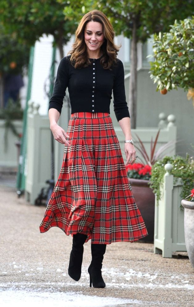 william-kate-Midi-plaid-skirt Kate Middleton's Outfits-25 Best Dressing Styles Of Kate To Copy