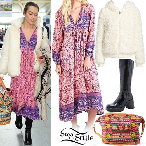 18-A-Simplistic-Printed-Frock Miley Cyrus Outfits-25 Best Dressing Styles of Miley Cyrus to Copy