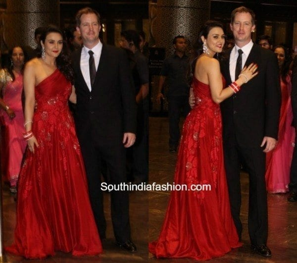 Preity-Zinta-at-her-wedding-reception-600x531 Preity Zinta Marriage Pics-Wedding Dress and Guest Celebrities Outfits