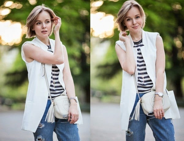 darya-kamalova-from-thecablook-com-in-milan-for-fuori-salone-2014-wearing-sleveless-white-vest-jacket-with-boyfriend-ripped-jeans-and-gucci-disco-boho-bag-46-copy-copy-600x459 Best Outfits to go with Tiny Bags-20 Ideas on How to Wear Mini Bags