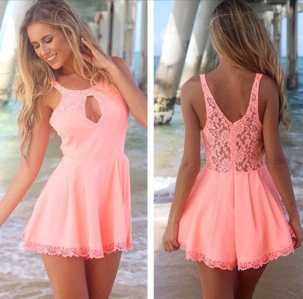 kafnxr-l-610x610-dress-cute-lace-pinkdress-pink-coraldress-coral-peachdress-summerdress-summer-spring-cut-cutedress-jumpsuit-playsuit-fashion-dungaree-thecarriediaries-carrie Latest Summer Fashion Trends To Follow- Top Trends of 2016