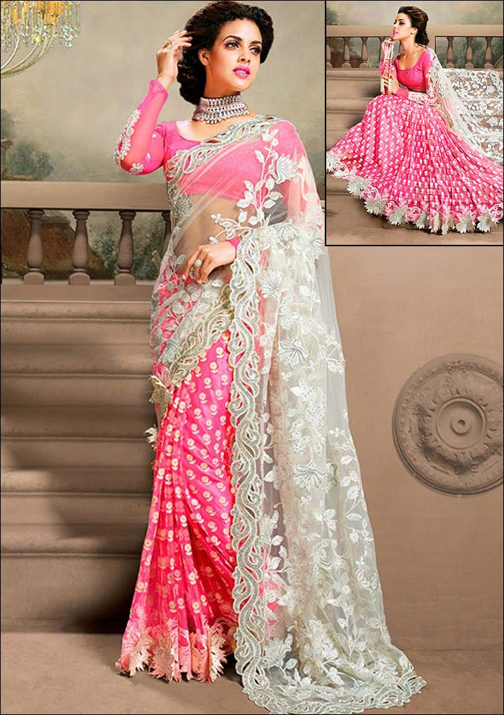 Baby-Pink-And-White-Bridal-Saree-of-south-indian-category 23 Latest Indian Wedding Saree Styles to Try this Year