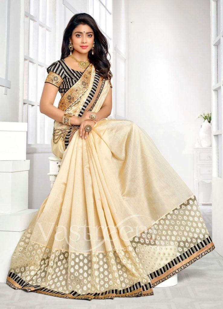 cream-traditional-south-indian-wedding-saree-in-silk-c16484-a4d-1-738x1024 23 Latest Indian Wedding Saree Styles to Try this Year