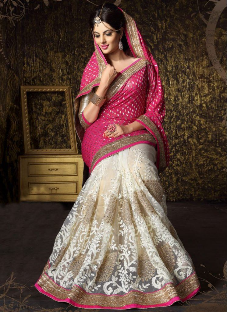 hot-pink-and-off-white-booti-work-crystal-work-patch-border-work-resham-embroidery-and-zari-work-net-and-viscose-bridal-saree-17886-790x1086-1-745x1024 23 Latest Indian Wedding Saree Styles to Try this Year
