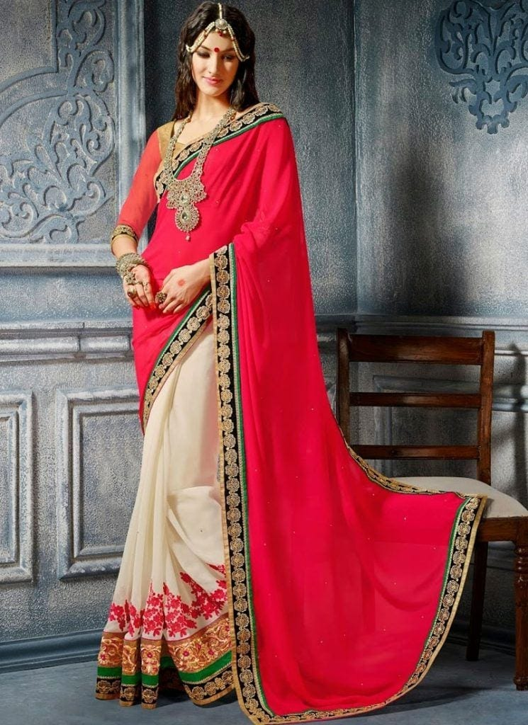 hot-pink-and-off-white-designer-half-n-half-bridal-saree-800x1100-1-745x1024 23 Latest Indian Wedding Saree Styles to Try this Year