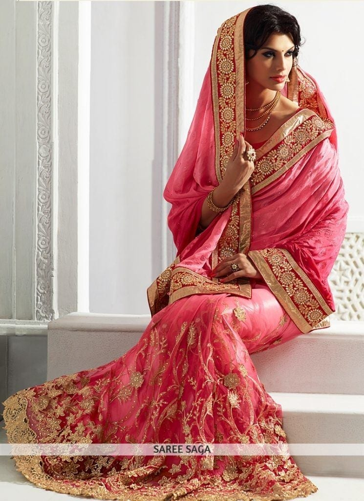 hot-pink-zari-and-embroidery-work-wedding-saree-1-745x1024 23 Latest Indian Wedding Saree Styles to Try this Year