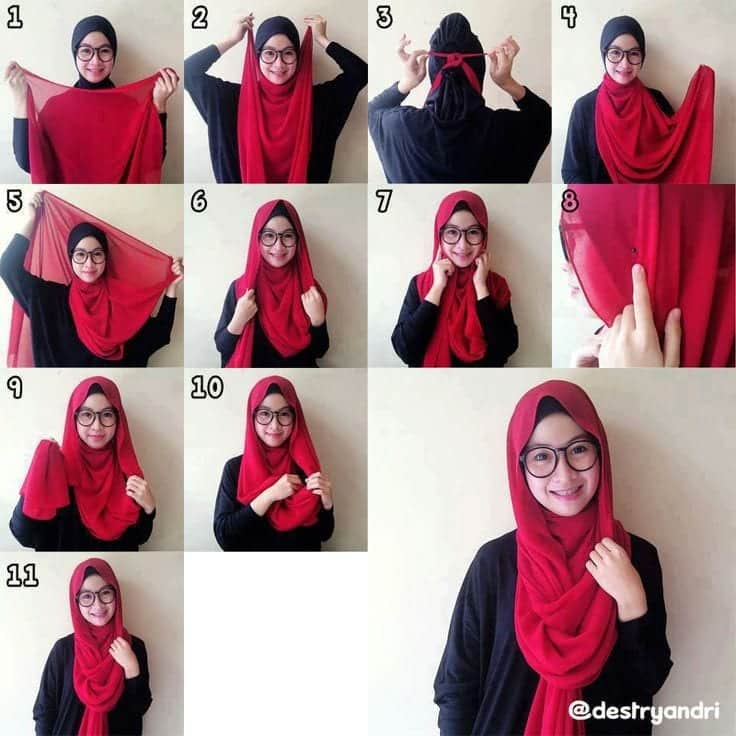 nerdy-look Pashmina Hijab Styles-18 Ways to Wear Hijab With Pashmina