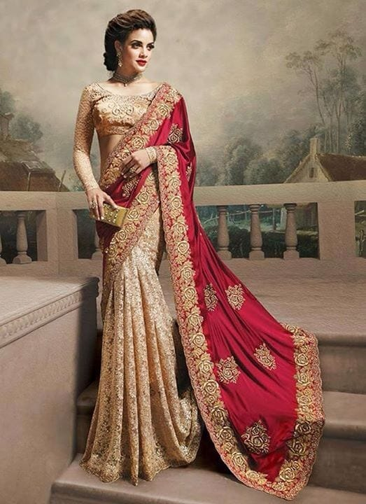 prestigious-south-indian-designer-saree 23 Latest Indian Wedding Saree Styles to Try this Year