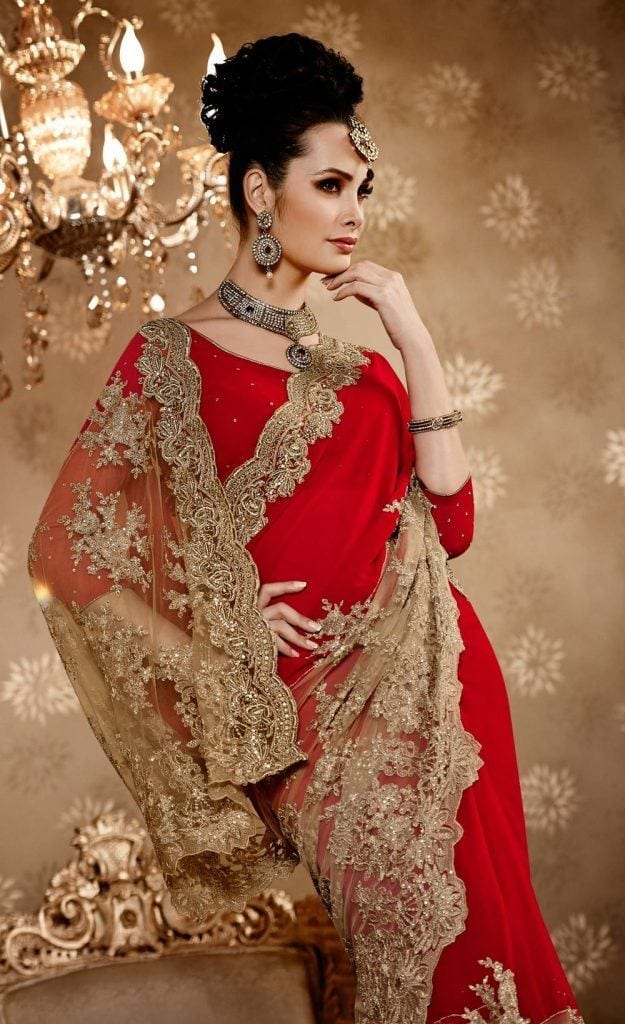 red-gold-unique-designer-wedding-half-saree-e15170-162-1-625x1024 23 Latest Indian Wedding Saree Styles to Try this Year