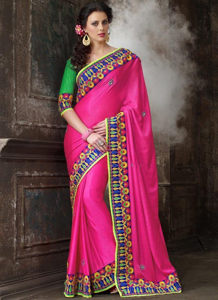 vibrant-magenta-color-pure-crepe-embroidred-saree-800x1100-1-745x1024 23 Latest Indian Wedding Saree Styles to Try this Year