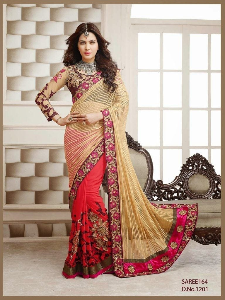 1201-Designer-Wedding-Cream-And-Red-Embroidered-Saree-1-768x1024 Latest Bridesmaid Saree Designs-20 New Styles to try in 2019