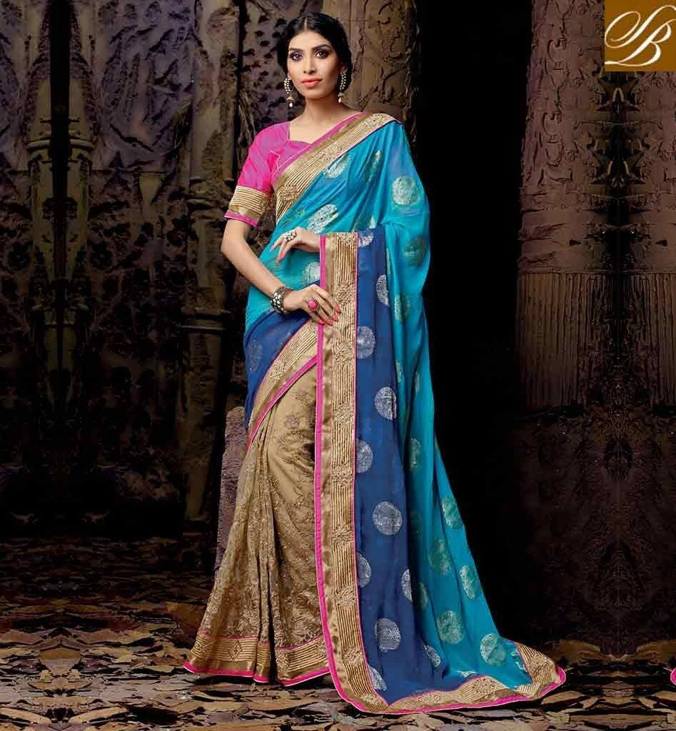 2056A-1_SOUTH-INDIAN-WEDDING-SAREES-WITH-BLOUSE-DESIGN-LATEST-POPULAR-BLUE-AND-CHIKOO-NET-VISCOSE-DESIGNING-SARI-WITH-PINK-DELUXE-DHUPION-BLOUSE_1024x1024-2-947x1024 23 Latest South Indian Wedding Sarees To Try This Year