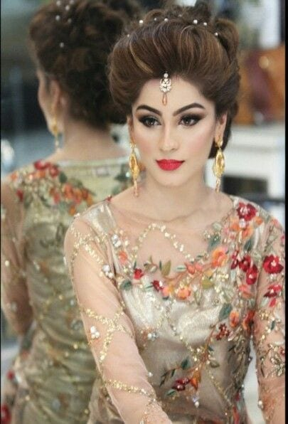 Bridal-Hairstyles-2016-classy Bridal Sharara Designs-32 News Designs and Styles to Try