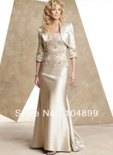 HOT-SALE-Champagne-satin-mother-of-the-bride-dresses-floor-length-evening-dress-jacket Outfits for Brides Mothers-20 Latest Mother of the Bride Dresses