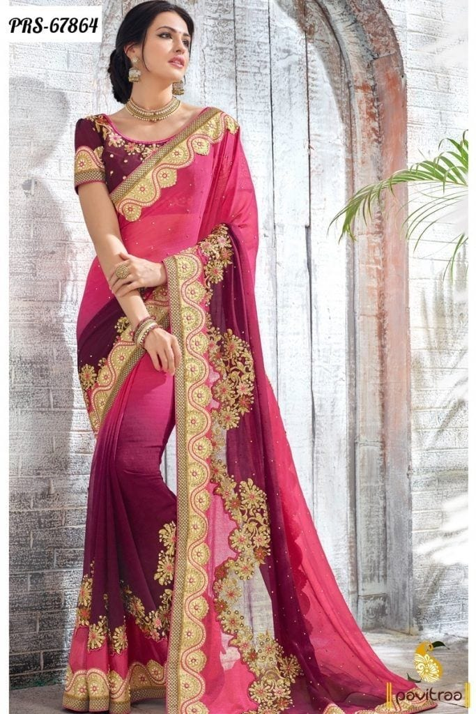 Indian-Bridal-Wear-Designer-Heavy-Work-Sarees-For-Wedding-and-Party-Online-Shopping-683x1024 20 Best Saree Ideas for Mothers of The Bride 2019