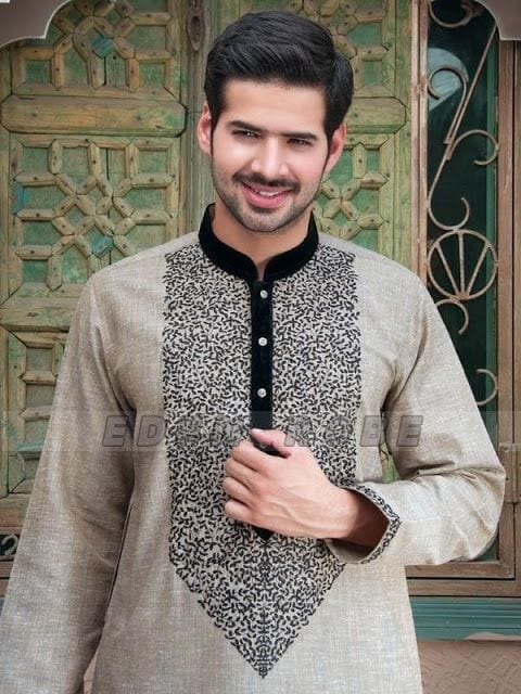 Latest-Summer-Fashion-Men-Kurta-Shalwar-Kameez-Designs-Collection-2015-2016-13 Latest Kurta Styles for Men - 24 Best Kurta Styles in 2019