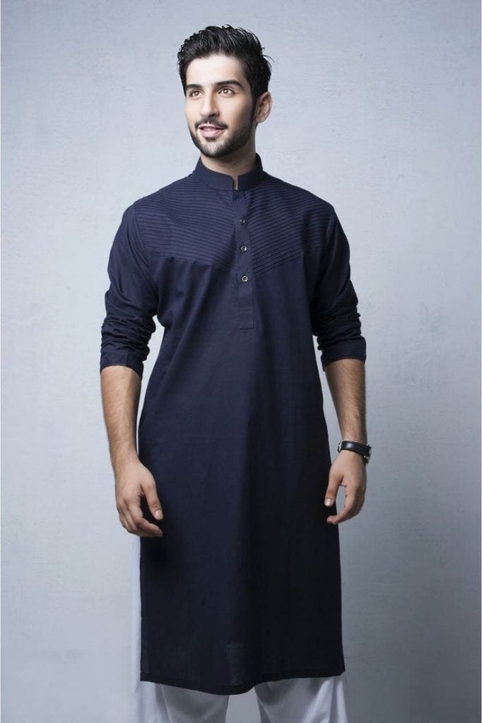 Latest-Summer-Fashion-Men-Kurta-Shalwar-Kameez-Designs-Collection-2015-2016-16-683x1024 Latest Kurta Styles for Men - 24 Best Kurta Styles in 2019