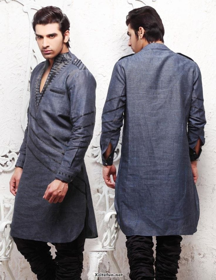Latest-Summer-Fashion-Men-Kurta-Shalwar-Kameez-Designs-Collection-2015-2016-26 Latest Kurta Styles for Men - 24 Best Kurta Styles in 2019