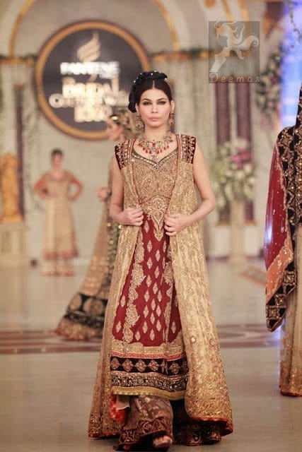 Maroon-Fawn-Latest-Designer-Wear-2016-Bridal-Gown-And-Sharara Bridal Sharara Designs-32 News Designs and Styles to Try