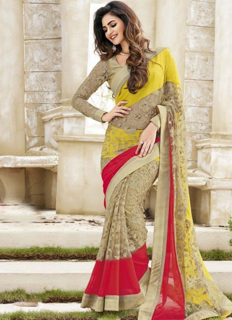 New-Year-Designer-Saree-With-Georgette-and-Brasso-Net-1-745x1024 Latest Bridesmaid Saree Designs-20 New Styles to try in 2019