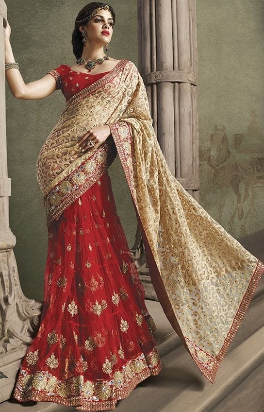 Red-n-Beige-Bridal-Saree-2704 20 Best Saree Ideas for Mothers of The Bride 2019