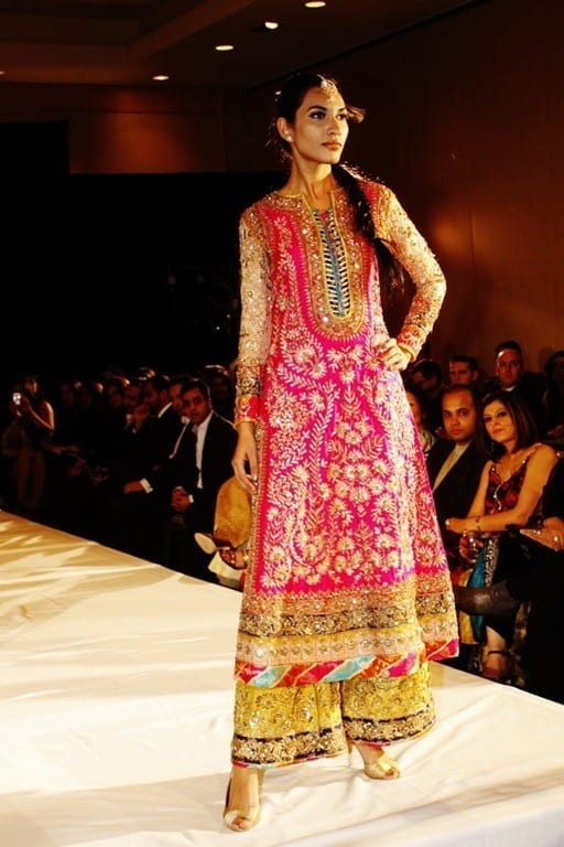 Shocking-Pink-Yellow-Bridal-Wear-Long-Shirt-Trouser1 Dholki Outfits-20 Ideas What to Wear on Dholki/Sangeet Night