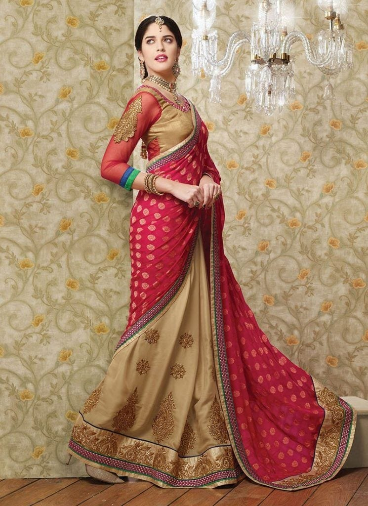 beautiful-red-and-brown-zari-work-designer-saree-800x1100-1-745x1024 Latest Bridesmaid Saree Designs-20 New Styles to try in 2019
