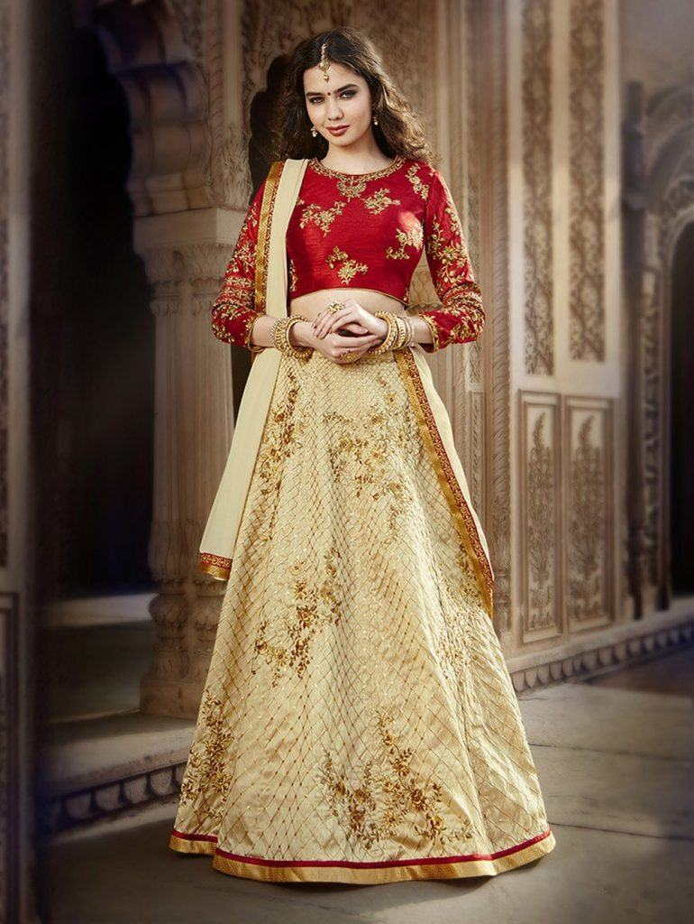 ccaa1722a-cream-bangalore-silk-lehenga-choli-with-embroidery-work-770x1024 Latest Bridesmaid Lehenga Designs-25 New Styles To Try In 2019