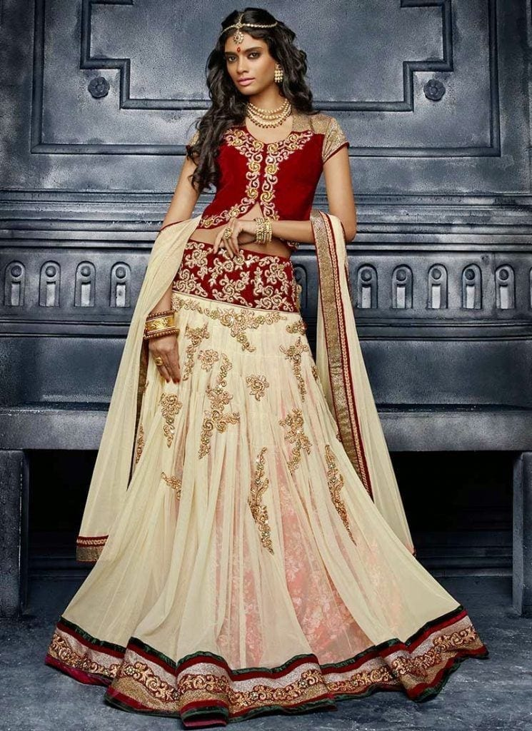 delighting-cream-net-lehenga-choli-ghsmvn1008-u-745x1024 Latest Bridesmaid Lehenga Designs-25 New Styles To Try In 2019