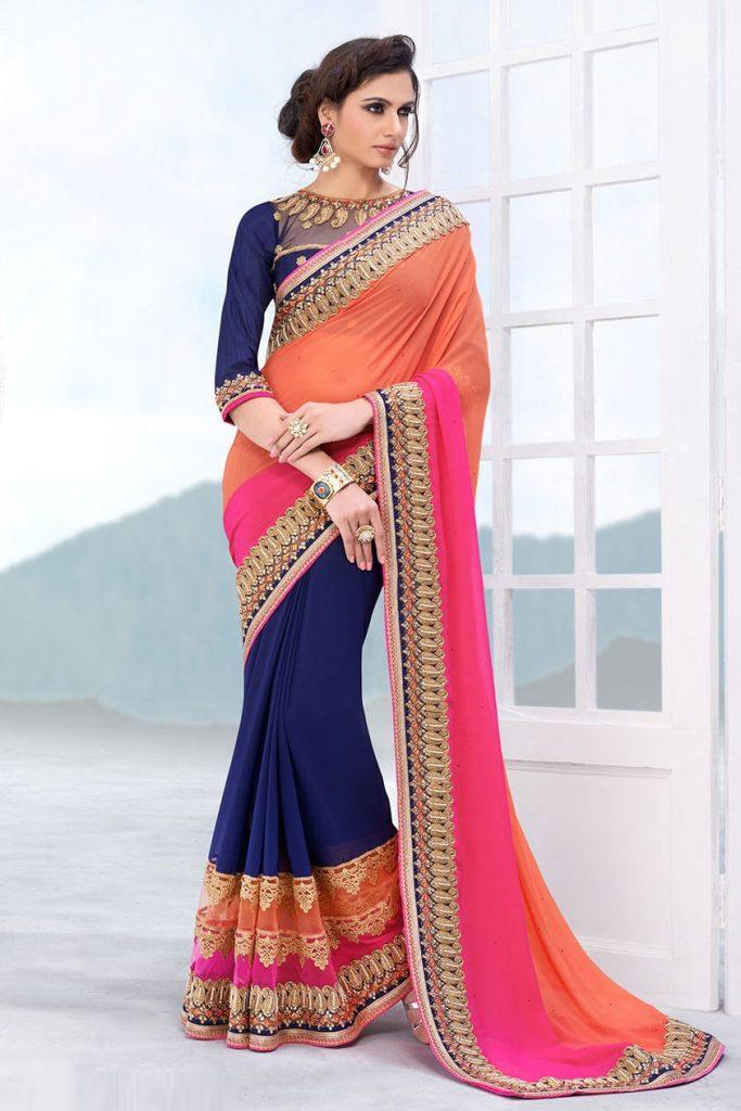 designer-indian-wedding-wear-saree-in-multicolor-e15156-fe3-683x1024 20 Best Saree Ideas for Mothers of The Bride 2019