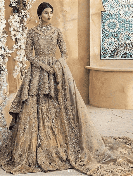 graceful-gold-look Bridal Sharara Designs-32 News Designs and Styles to Try