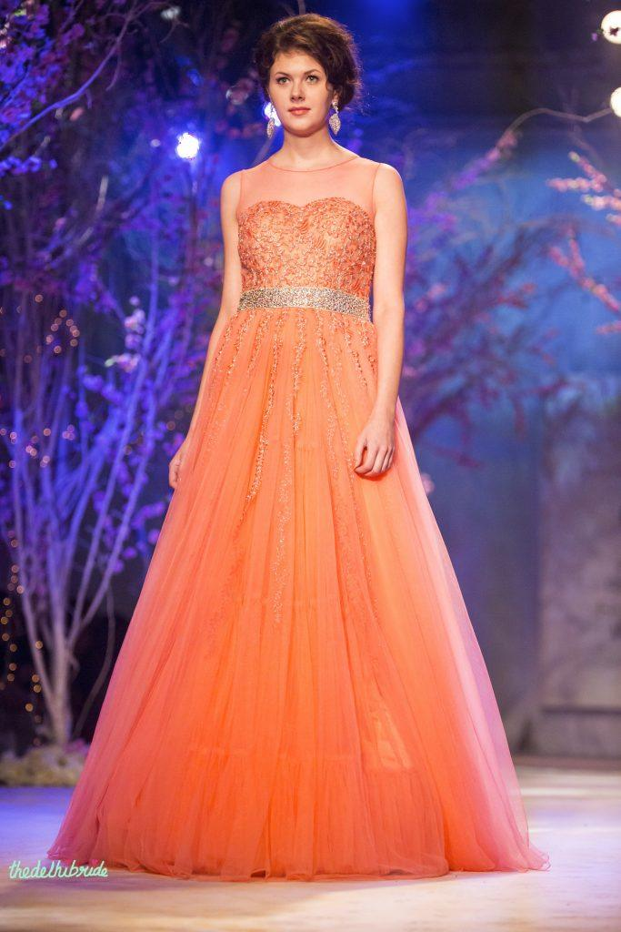 orange-gown-for-engagement-jyotsna-tiwari-india-bridal-fashion-week-2014-683x1024 Latest Bridal Gowns - 20 Most Perfect Bridal Gowns this Year