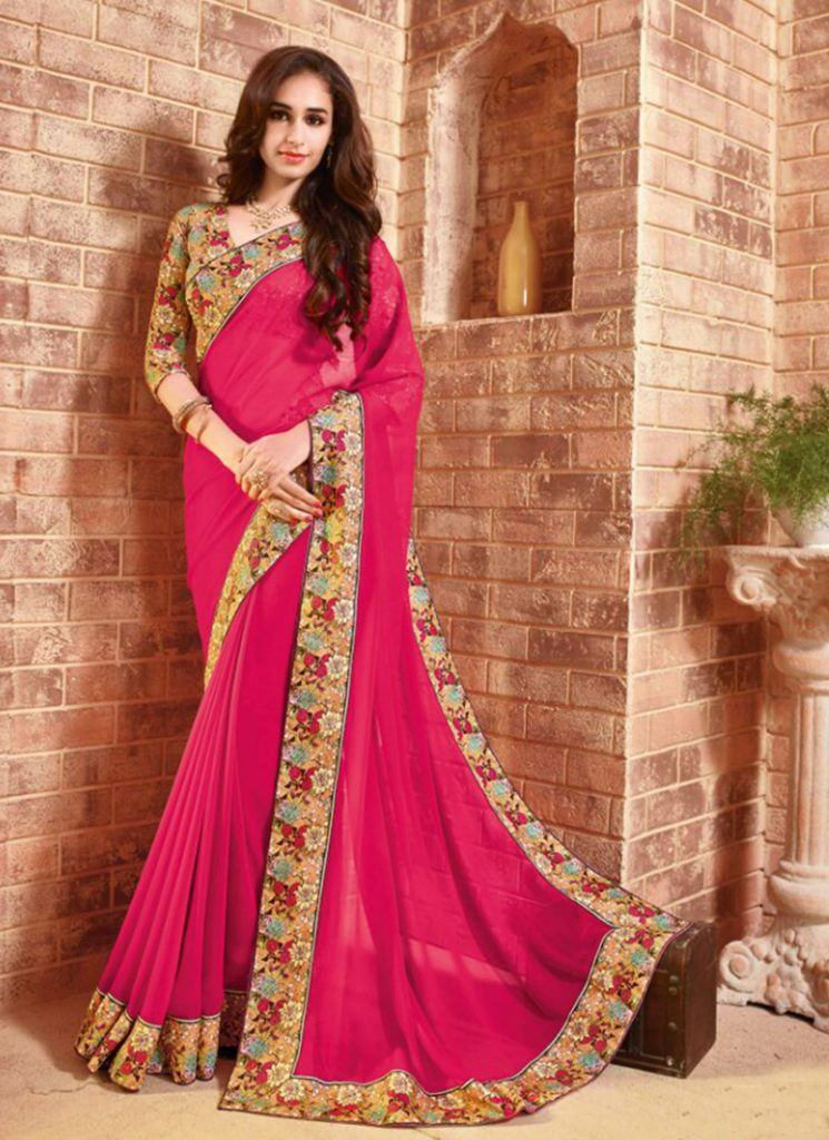 pink-designer-wholesale-saree-for-beautiful-look-15126-800x1100-1-745x1024 Latest Bridesmaid Saree Designs-20 New Styles to try in 2019
