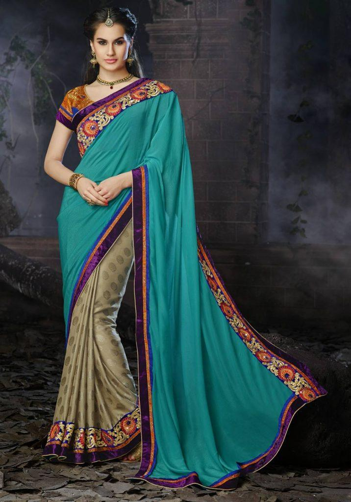 teal-blue-beige-latest-south-indian-half-saree-with-blouse-d15206-0ba-2-716x1024 23 Latest South Indian Wedding Sarees To Try This Year