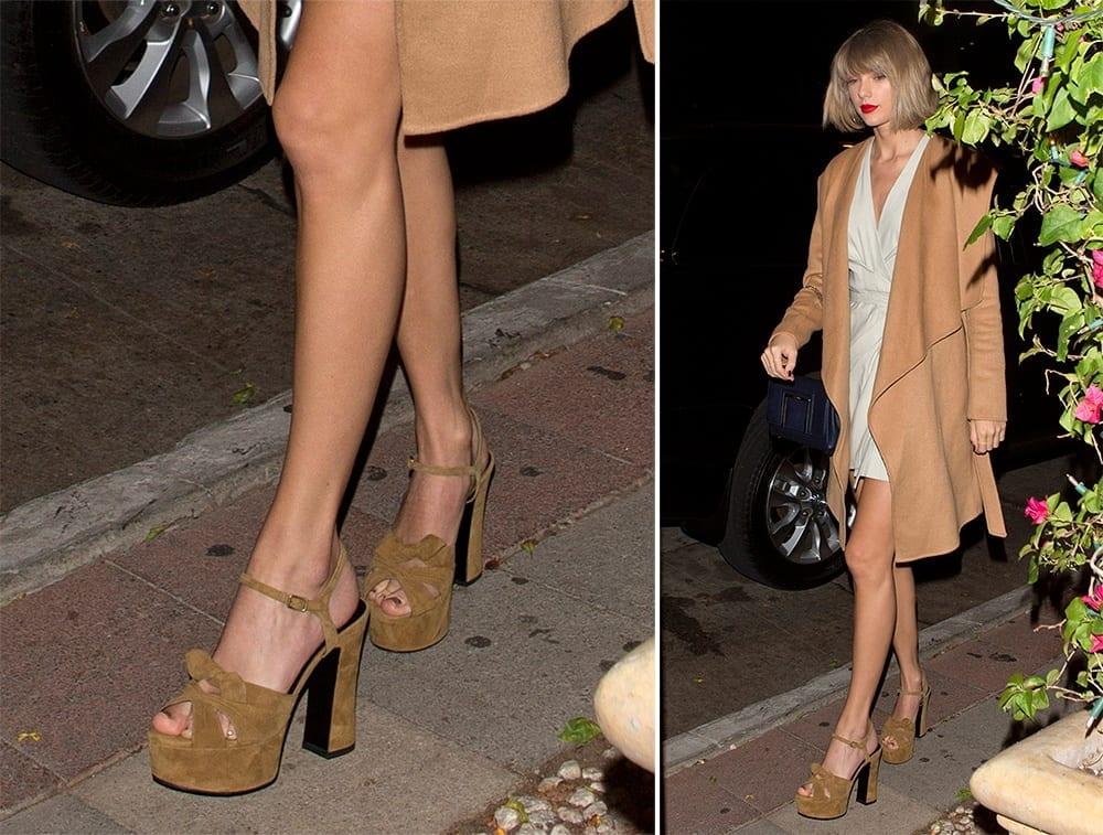 Taylor-Swift-Saint-Laurent-Candy-Platform-Sandals-1 Top 13 Best Makeup Styles From The Most Beautiful Celebrities