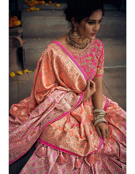 Coral Latest Bridesmaid Saree Designs-20 New Styles to try in 2019