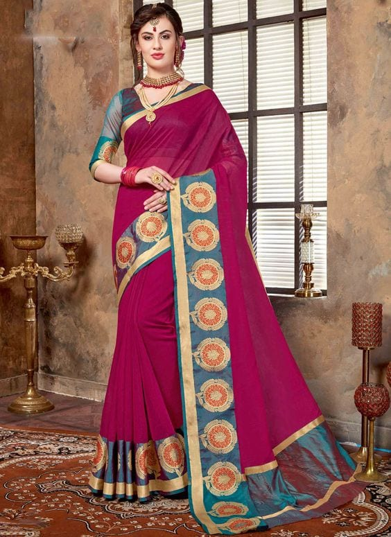 Magenta Latest Bridesmaid Saree Designs-20 New Styles to try in 2019