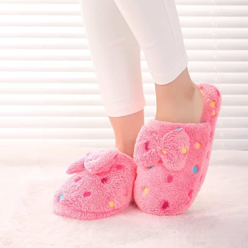 New-2015-Women-Sweet-Warm-Plush-Home-Slippers-Girls-Winter-Cute-bowknot-Patterns-Soft-Fluffy-Indoor Funky Slippers For Girls-These 30 Coolest Slippers you Must Try